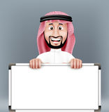 3D Handsome Saudi Arab Man in Traditional Dress. Stand Holding Big Blank White Board with Space for Text or Business Messages while Smiling and Talking stock illustration