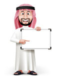 3D Handsome Saudi Arab Man in Traditional Dress. Stand Pointing Blank White Board with Space for Text or Business Messages while Smiling and Talking. Editable royalty free illustration