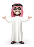 3D Handsome Saudi Arab Man in Traditional Dress. Stand Teaching while Smiling with Sunglasses in White Background. Editable Vector Illustration stock illustration