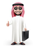 3D Handsome Saudi Arab Man in Traditional Dress. Standing Holding Black Briefcase for Business Travel with Sunglasses in White Background. Editable Vector Stock Photography