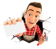 3d handyman coming out through a wall with company card Stock Photography