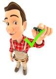 3d handyman drawing positive check mark Stock Photography