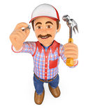 3D Handyman hammering a nail with a hammer Stock Image
