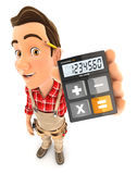 3d handyman holding calculator. Illustration with isolated white background Royalty Free Stock Images