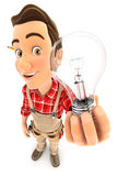 3d handyman holding a light bulb Stock Image