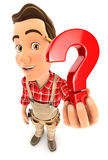 3d handyman holding a question mark icon Stock Photography