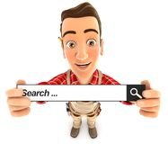 3d handyman holding a search bar Royalty Free Stock Photo