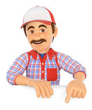 3D Handyman pointing down. Blank space Royalty Free Stock Image