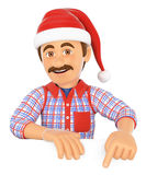 3D Handyman pointing down with a Santa Claus hat. Blank space. 3d working people illustration. Handyman pointing down with a Santa Claus hat. Blank space. White Stock Photo