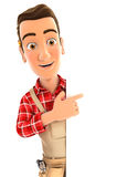 3d handyman pointing to right blank wall stock illustration