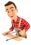 3d handyman sawing wooden plank. Illustration with isolated white background Stock Images
