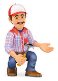 3D Handyman squatting with a hammer pointing to side Royalty Free Stock Photography