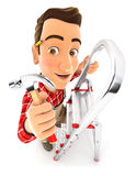 3d handyman on stepladder with claw hammer Royalty Free Stock Photo