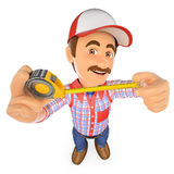 3D Handyman with with a tape measure Royalty Free Stock Photos