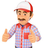 3D Handyman with two thumbs up Royalty Free Stock Image