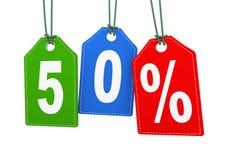 3d hangend markeringsetiket van de aanbieding van de vijftig 50 percentenkorting Stock Fotografie