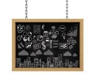 3d hangende raads bedrijfstekeningsschets Stock Afbeeldingen