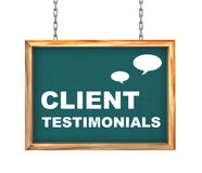 3d hanging banner - client testimonials Royalty Free Stock Photo