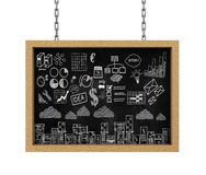 3d hanging board business drawing sketch Stock Images