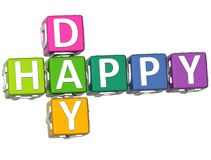 3D Happy Day Crossword Royalty Free Stock Image