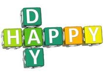 3D Happy Day Crossword Stock Photography