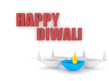 3d happy diwali text with group of diya Stock Photo