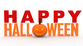 3d happy Halloween text with pumpkin Stock Photography