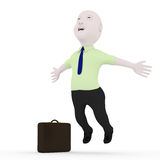 3d happy man. Men 3d character jumping joy in the background Royalty Free Stock Image