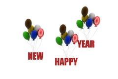 3d  happy new year balloon concept Stock Image