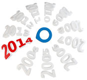 3d Happy New Year 2014 with blue selector. On white background stock illustration