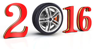 3d happy new year 2016 with car wheel Stock Photo