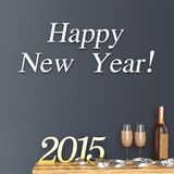 3d  Happy new Year 2015 with champagne glasses and bottle. Against the wall Royalty Free Stock Photo