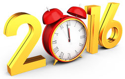 3d happy new year 2016 with clock Royalty Free Stock Images