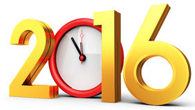3d happy new year 2016 with clock. On white background Royalty Free Stock Images