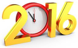 3d happy new year 2016 with clock. On white background Stock Images