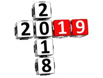 3D Happy New Year 2019 Crossword on white background Stock Photography