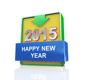3d 2015 happy new year. 3d design illustration presentation of arrow banner of happy new year 2015 Stock Photos