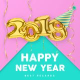 2018 3D Happy New Year with gold balloon numbers  on pink-green background Royalty Free Stock Images