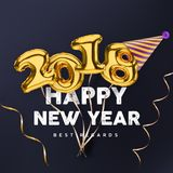 2018 3D Happy New Year gold vector banner  on black background with party hat Stock Photo