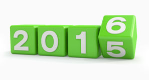3d - happy new year 2016 - green Stock Photography
