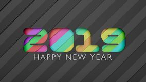 3d 2019 Happy New Year greeting card. Colorful paper cut layers in creative text carving Stock Image