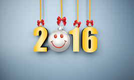 3d happy new year 2016 hanging. Near a wall Royalty Free Stock Photography
