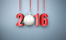 3d happy new year 2016 hanging. Near a wall Royalty Free Stock Image