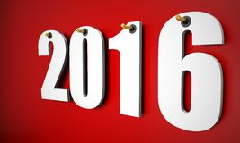 3d happy new year 2016 hanging. Near a wall Stock Photo