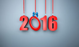 3d happy new year 2016 hanging. Near a wall Royalty Free Stock Photo