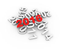 3D happy new year 2016 Stock Photography