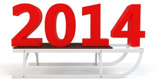 3d Happy New Year 2014 with sleigh. On white background Stock Image