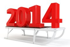 3d Happy New Year 2014 with sleigh. On white background Royalty Free Stock Images