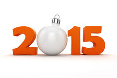 3d happy new year 2015. Text on white background stock illustration