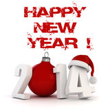 3d Happy New Year 2014. On white background Stock Images